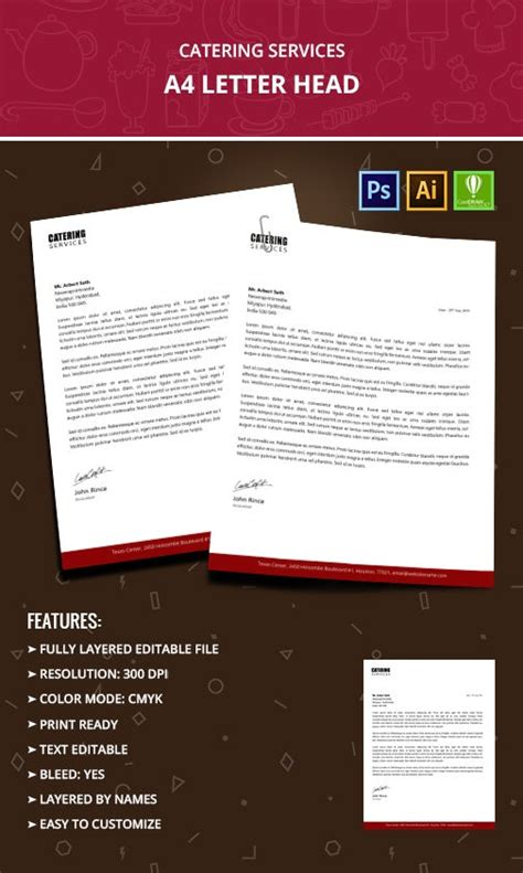 catering services letterhead templates word psd ai