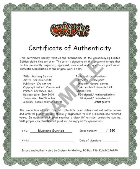 printable certificate of authenticity