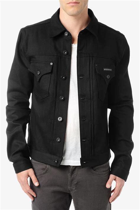 Denim Jaket Black Pria Cowok hudson jean jacket in black for black lyst