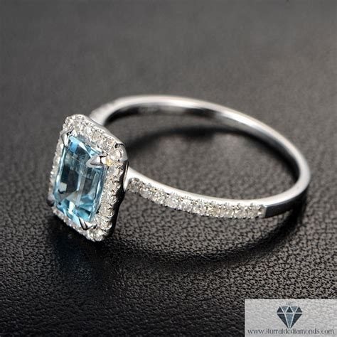 emerald cut aquamarine pave ring