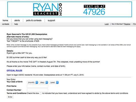 Ryan Seacrest Sweepstakes - ryan seacrest s the gift 1 000 sweepstakes