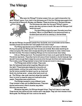 who were the vikings reading worksheet reading
