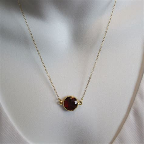 Gemstone Necklace birthstone gemstone necklace bezel gemstone