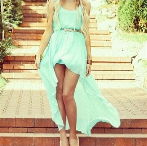 mint green dress with thin brown belt my style more