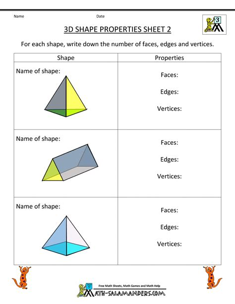 printable math worksheets shapes 3d shapes worksheet for year 2 3d shapes worksheets for