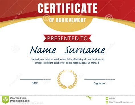 certificate template diploma layout a4 size stock vector
