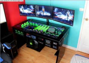 gaming setup creator watercooled pc desk mod with built in car audio system