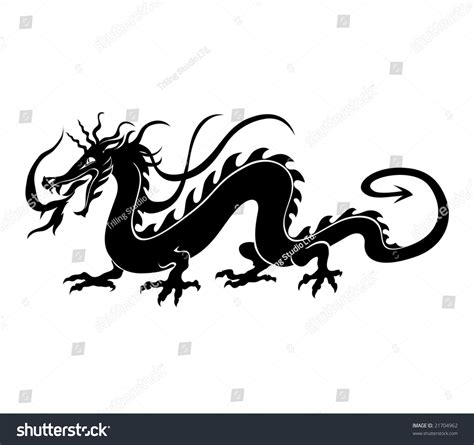 chinese dragon tattoo stock vector vector illustration angry stock