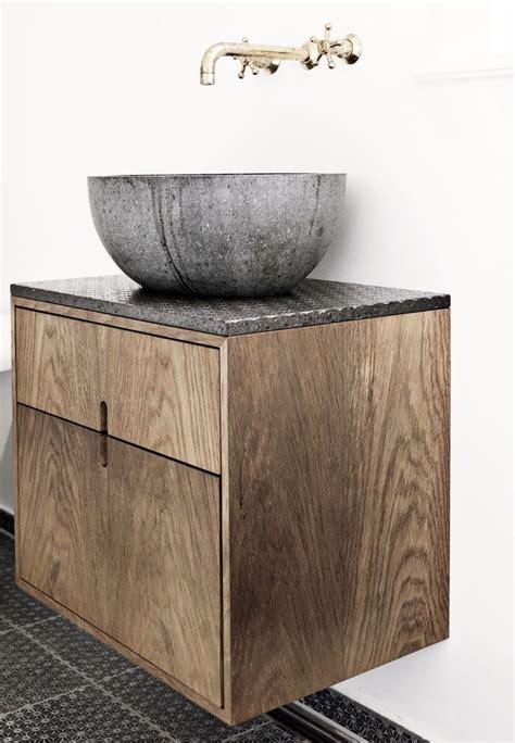 stone basin bathroom rustic wood vanity stone sink brass wall mounted