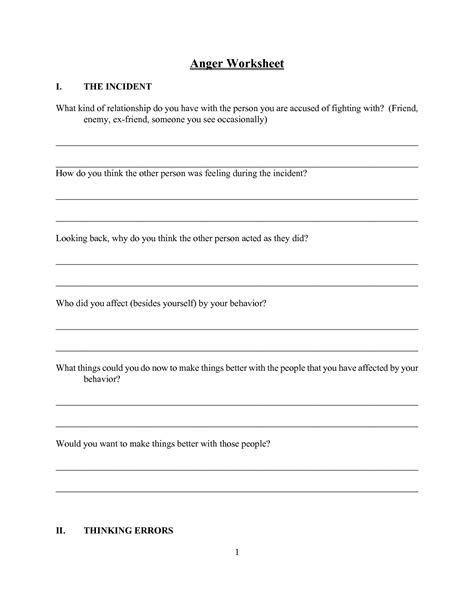 What Is Anger Worksheet by 17 Best Images Of Healthy Lifestyles Worksheets For Adults