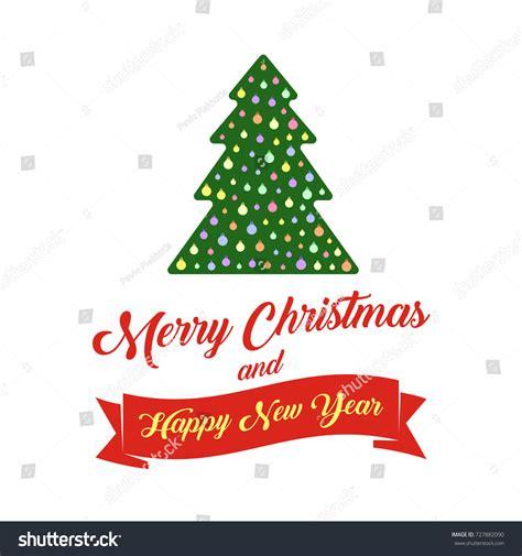 happy holiday tree ribbon tree text merry happy stock vector 727882090