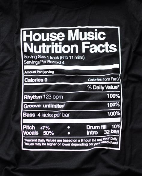 house music facts playera house music nutrition facts n black room