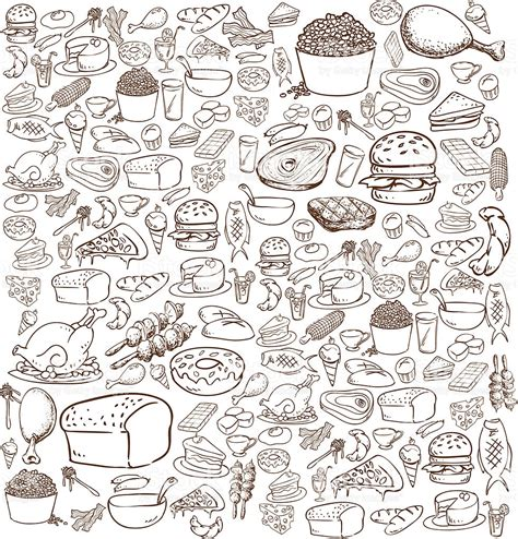 food doodle food doodle stock vector more images of bacon