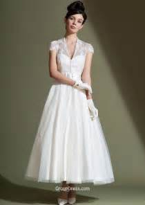 tea length wedding dresses illusion v neck applique tea length traditional tulle a line wedding dress sleeves