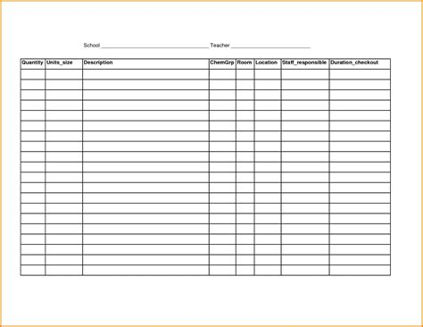 office supply inventory list template and free printable