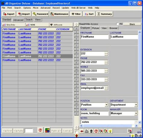 simple excel database template employee phone directory deluxe free and