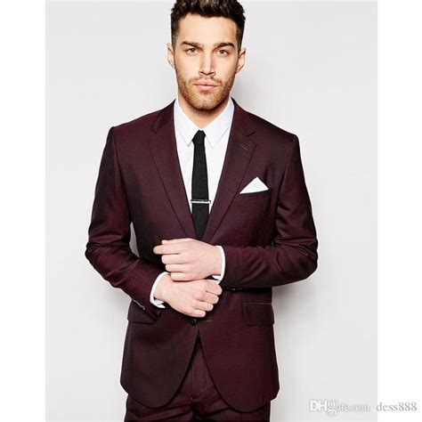 2019 New Men Suits Design Burgundy Man Suits & Blazers