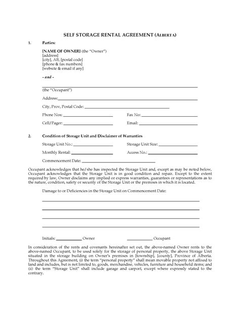 lease agreement template alberta alberta self storage rental agreement forms and