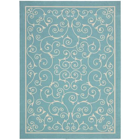 3 X 5 Indoor Outdoor Rugs Nourison Home And Garden Pavilion Light Blue 5 Ft 3 In X 7 Ft 5 In Indoor Outdoor Area Rug