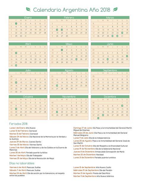 Calendario 2018 Argentina Para Imprimir Calendario Argentina A 241 O 2018 Feriados