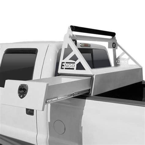 sliding truck bed tool box engo 174 67 f08 14sd hrs headache rack with side slide tool box