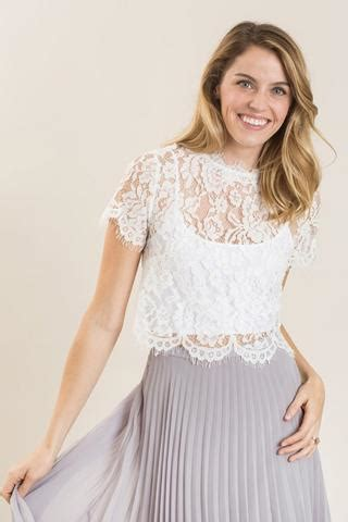 Blouse Jumbo Sherly shirley white lace capsleeve top morning lavender