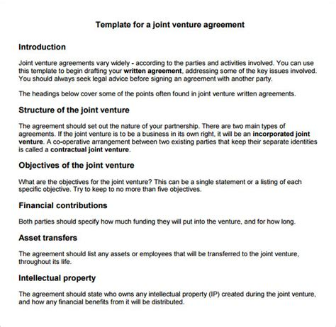 Joint Venture Term Sheet Template by Sle Joint Venture 9 Free Documents In Pdf Word
