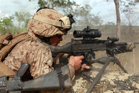 file a u s marine corps machine gunner with weapons