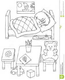 Bedroom Black And White Drawing Sleeping Boy Royalty Free Stock Images Image 14973999