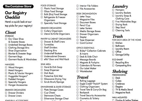 Wedding Gear Checklist by Wedding Registry Checklist From The Container Store