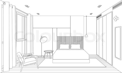 bedroom perspective line sketch of the interior bedroom perspective sketch view of room with bed stock