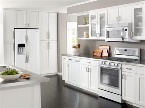 white kitchen cabinets and appliances j k offers whirlpool kitchenaid appliance package