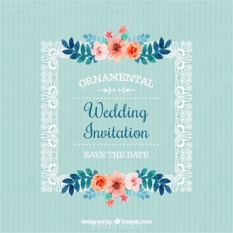 wedding invitation ai ai frame with flowers wedding invitation vector free