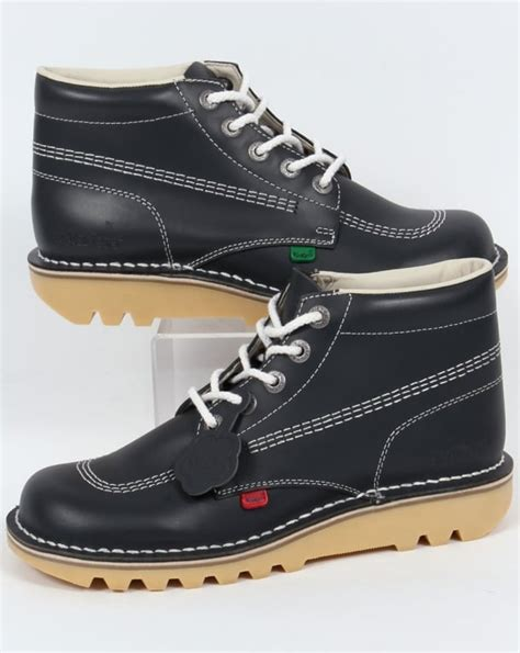 kickers boot kickers kick hi boots in leather navy kickers from 80s