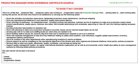 Activities Examples For Resumes by Production Manager Work Experience Certificate Sample