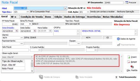 Layout Nf E Difal | nota fiscal como verificar as informa 231 245 es do difal