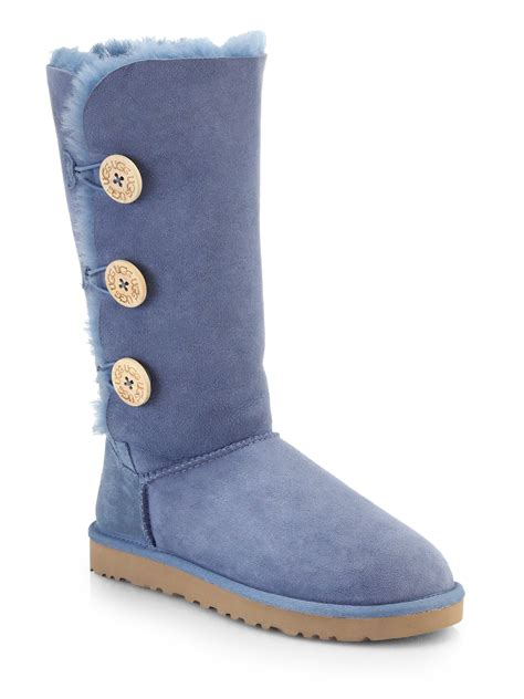 ugg bailey button knee high shearling boots in blue lyst