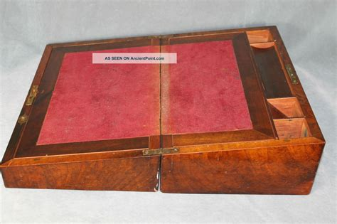 wood s l for sale antique burl walnut portable traveling secretary writing