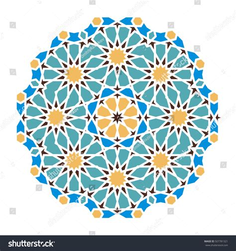 round islamic pattern vector blue islamic pattern background vector illustration stock