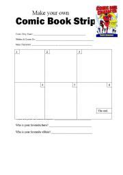 English Worksheets Make Your Own Comic Book Strip Make Your Own Book Template Printable