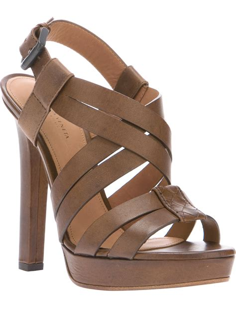 brown heeled sandals bottega veneta strappy sandal in brown lyst