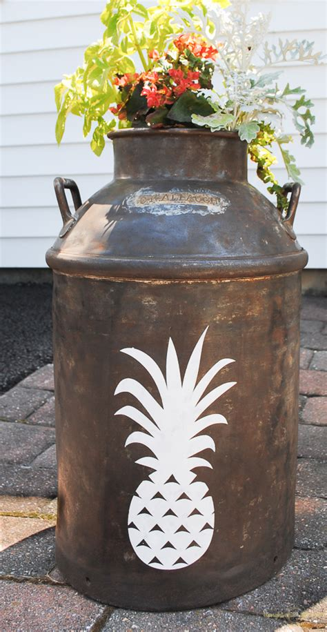 Milk Can Planter by Pineapple Milk Can Planter Upright And Caffeinated