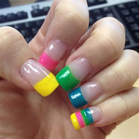 tip colors acrylic nails with tips all in different
