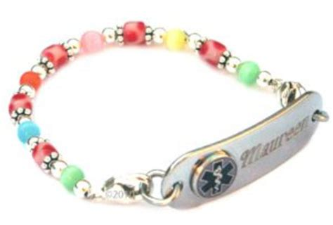 #978 Fun Candy Dots Beaded Medical id Bracelet   Medical ID Store