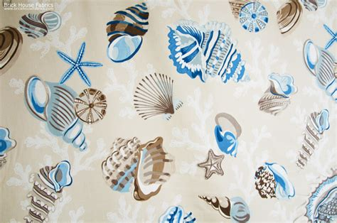 seashell upholstery fabric seashell fabric starfish sea stars coral funky brown blue
