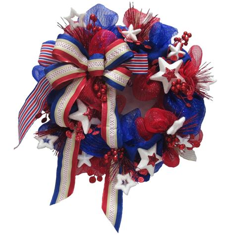 home accents holiday polymesh patriotic wreath asm hspr001