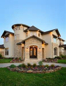 Tuscan Bathroom Design towne lake corner lot front elevation rustic exterior
