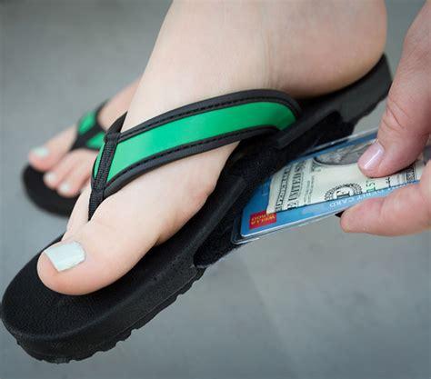 sandals credit card slotflops flip flop sandals with a secret stash slot for