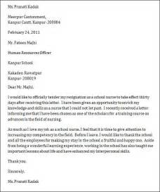 Exle Of Resignation Letter For Nurses by Sle Resignation Letter
