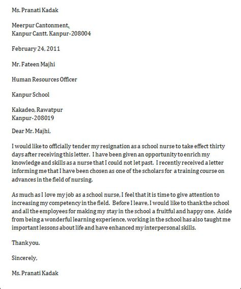 One Month Resignation Letter For Nurses Sle Resignation Letter